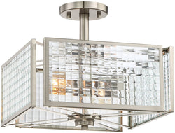 Pivot 2-Light Semi Flush Mount Satin Platinum