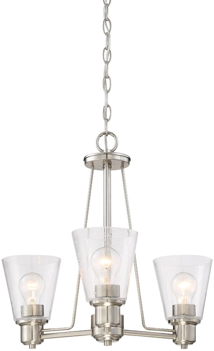 "20""W Printers Row 3-Light Chandelier Satin Platinum"