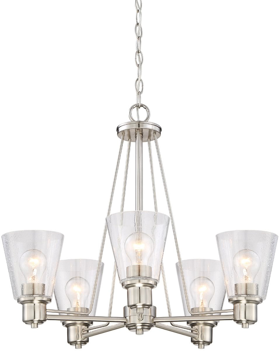 "24""W Printers Row 5-Light Chandelier Satin Platinum"