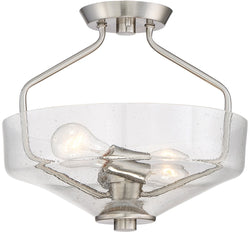 Printers Row -Light Semi Flush Mount Satin Platinum