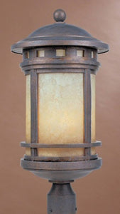 "23""h Sedona 3-Light Outdoor Post Light Mediterranean Patina"