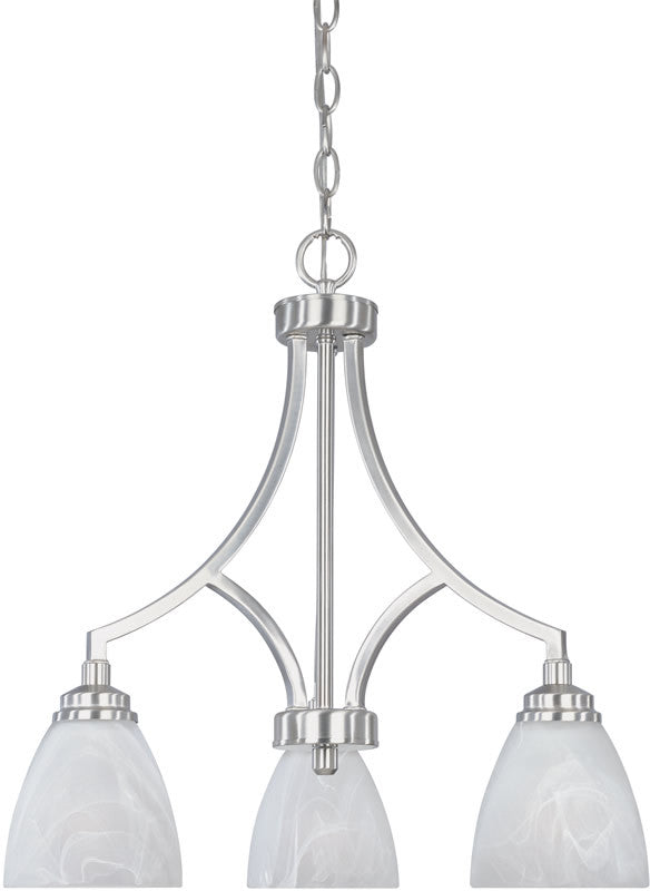 "20""w Tackwood 3-Light Chandelier Satin Platinum"