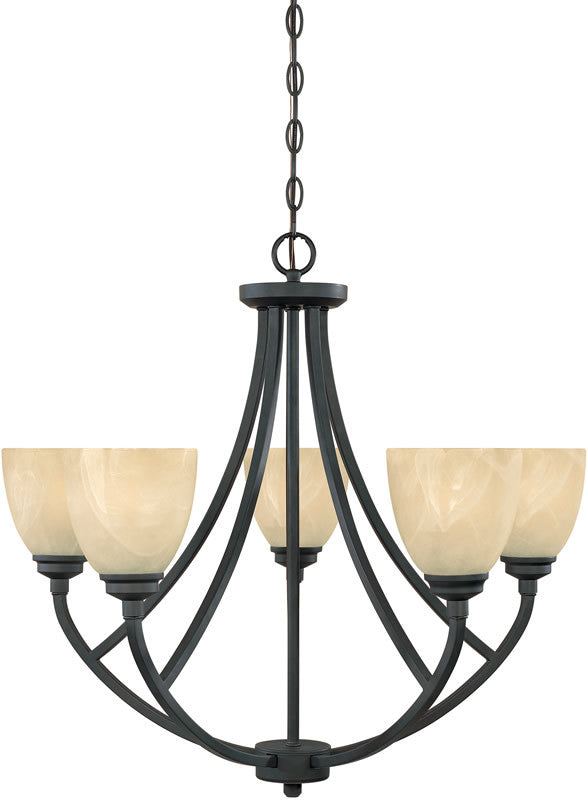 "27""W Tackwood 5-Light Chandelier Burnished Bronze"
