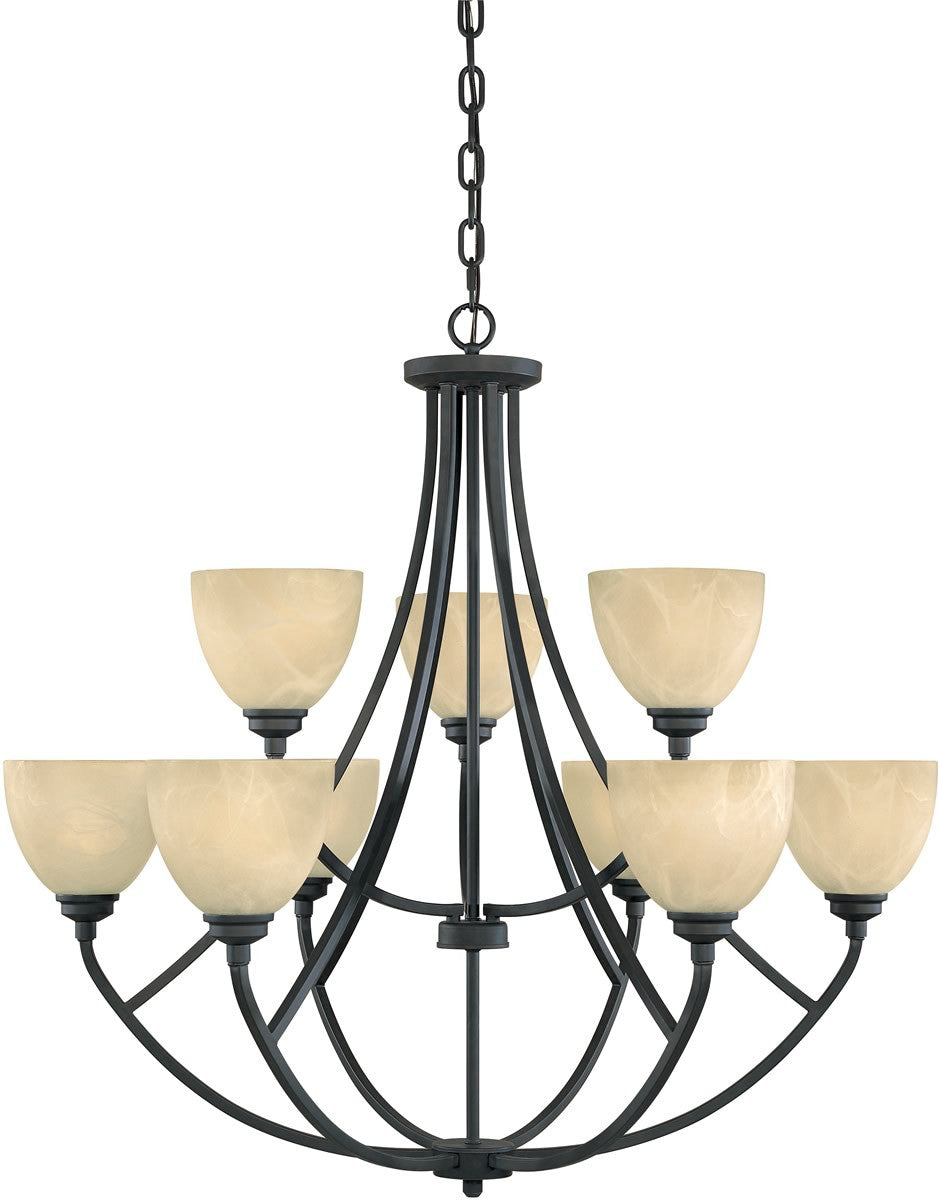 "35""w Tackwood 9-Light Chandelier Burnished Bronze"