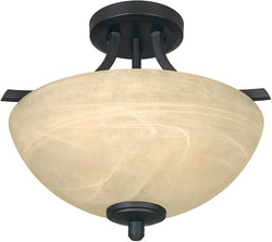 "15""w Tackwood 2-Light Semi-Flush Burnished Bronze"