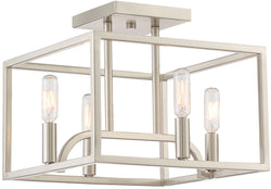 Uptown 4-Light Semi Flush Mount Satin Platinum