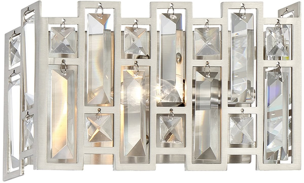 "10""W West 65th 1-Light Wall Sconce Satin Platinum"