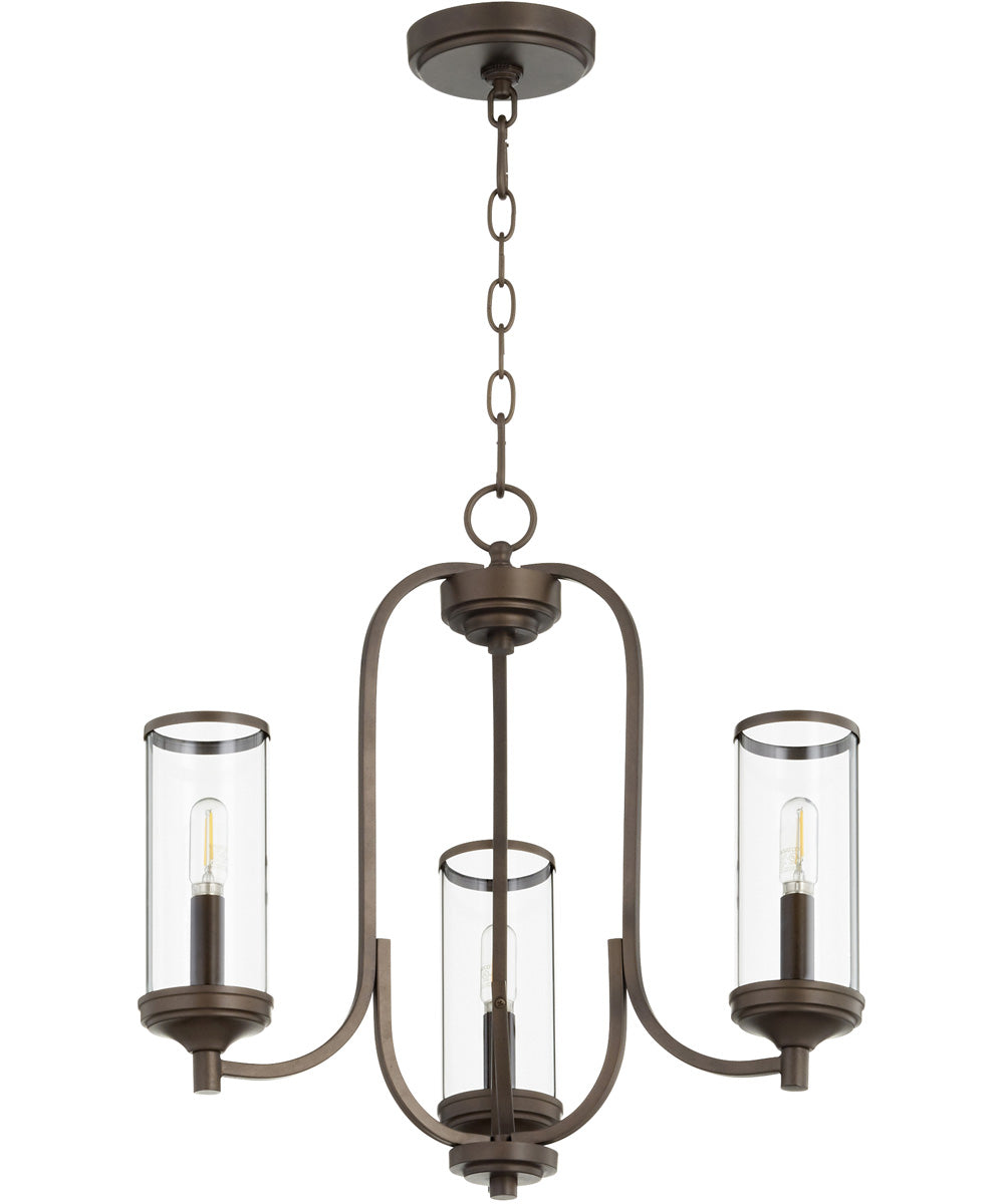 "19""W Collins 3-light Chandelier Oiled Bronze"