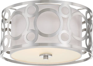 "15""W Filigree 2-Light Close-to-Ceiling Brushed Nickel"