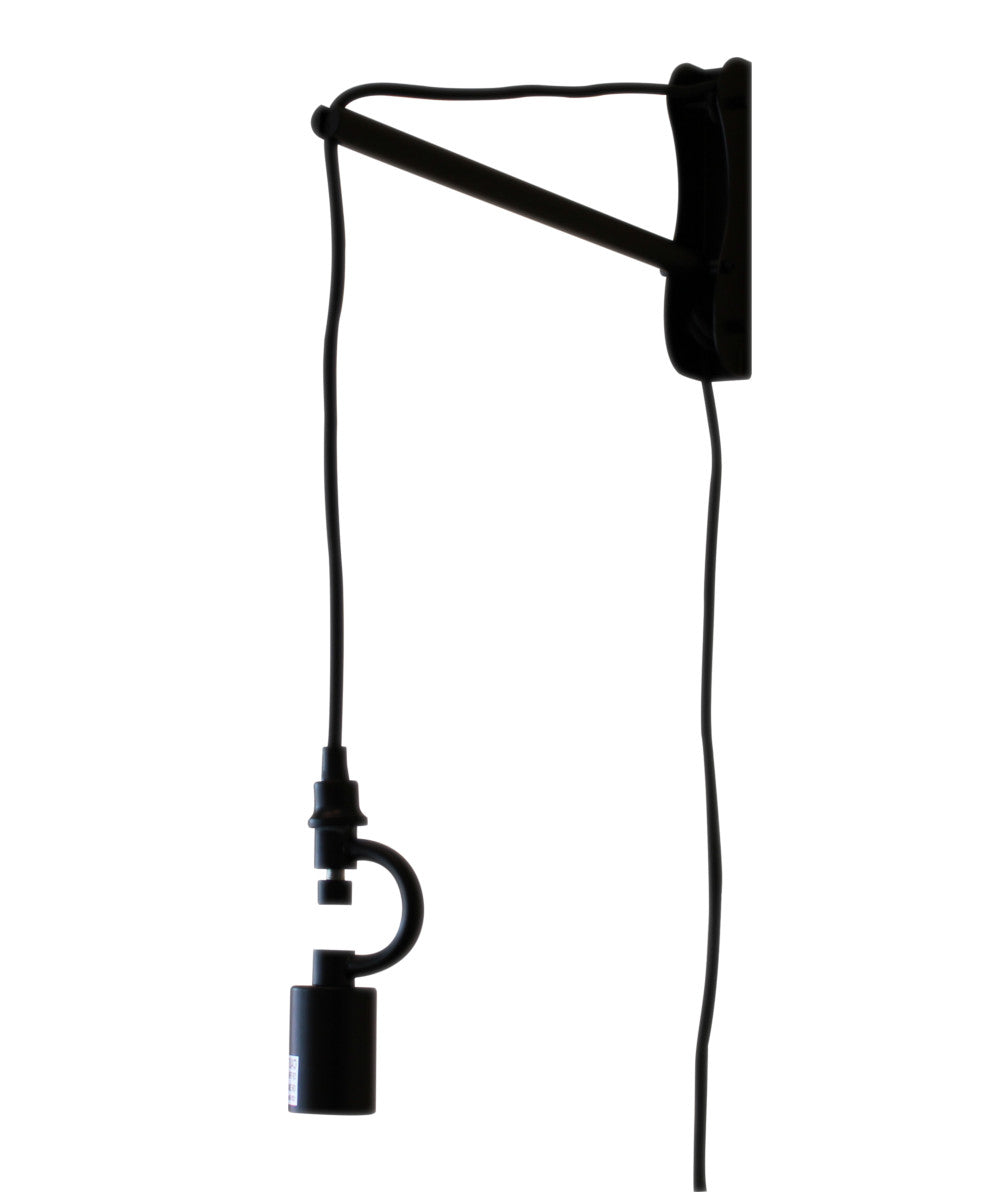 "8""W The MAST 1 Light Wall Arm Converts Your Lampshade to a Wall Pendant  Black"
