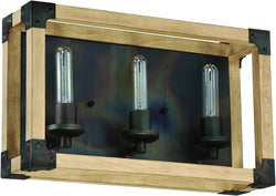 0-002040>Cubic 3-Light Bath Vanity Light Fired Steel/Natural Wood