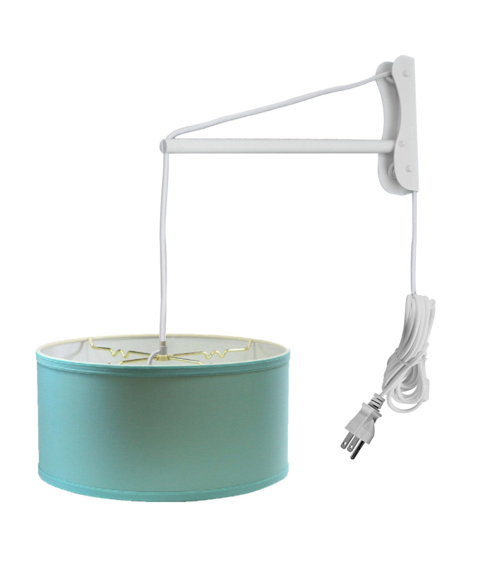 "14""W MAST Plug-In Wall Mount Pendant 2 Light White Cord/Arm with Diffuser Island Paridise Blue Shade"