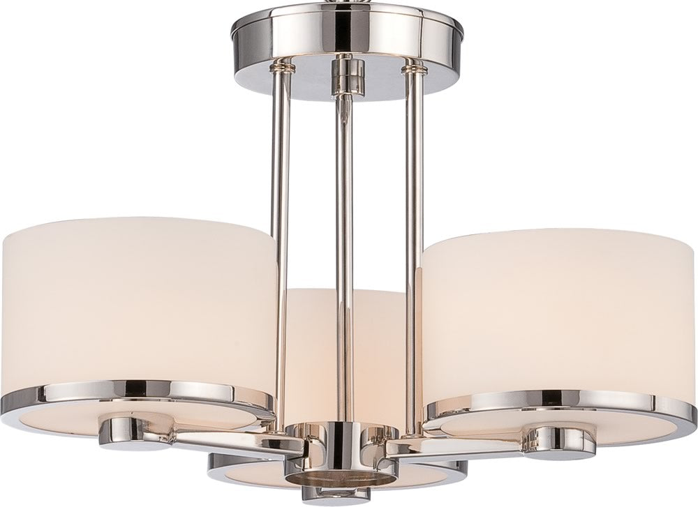 "15""W Celine 3-Light Close-to-Ceiling Polished Nickel"