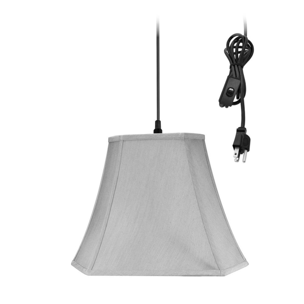 "16""W 1-Light Plug-In Swag Pendant Lamp Gray"