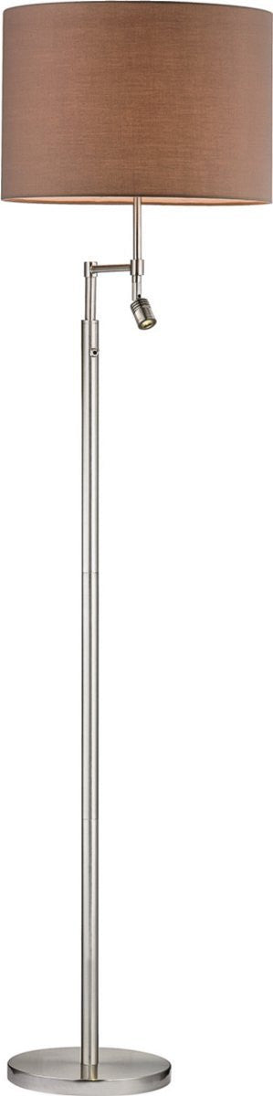 "60""H Beaufort 2-Light LED 3-Way Floor Lamp Satin Nickle"