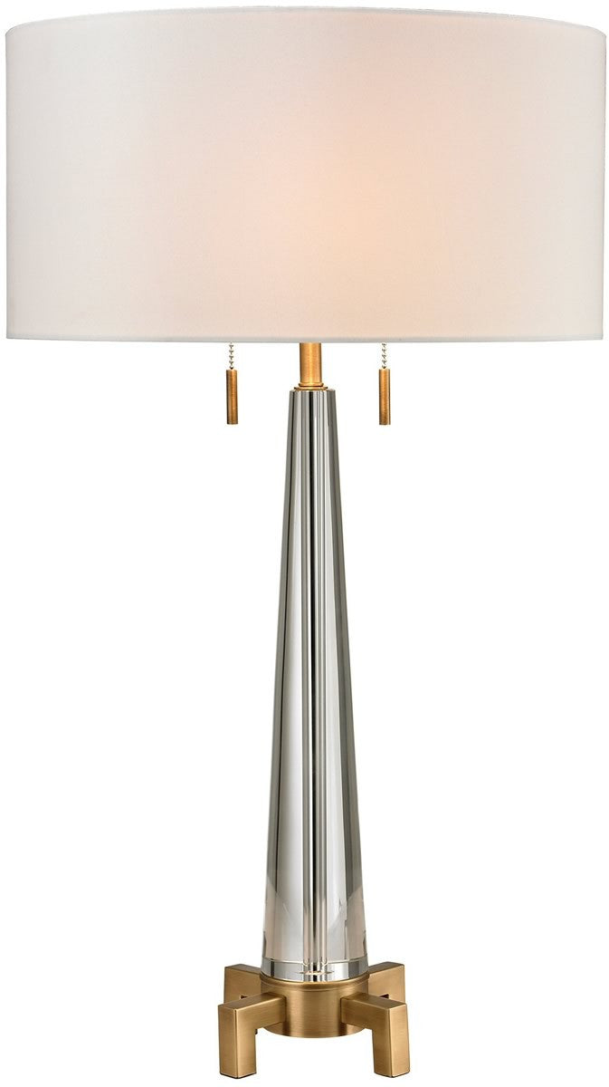 Bedford 2-Light LED Table Lamp Clear Aged Brass