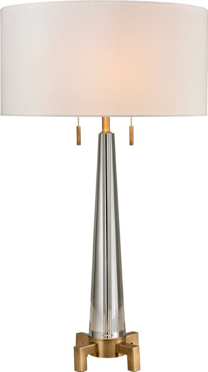 "30""H Bedford 2-Light Table Lamp Clear Glass/Aged Brass"
