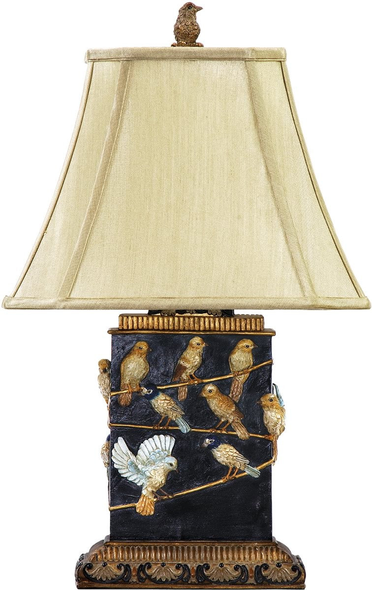 "20""h Birds On A Branch 1-Light Table Lamp Black and Gold"