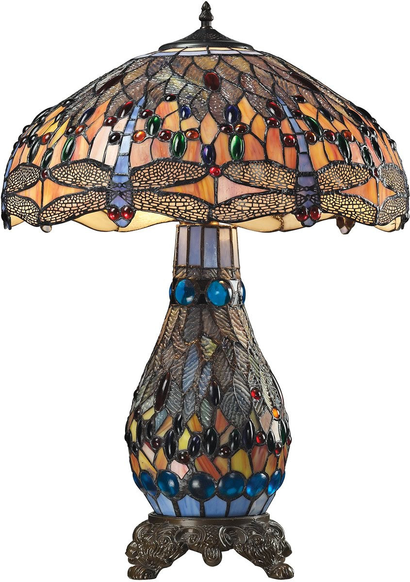 "26""H Dragonfly 2-Light Table Lamp Tiffany Bronze"