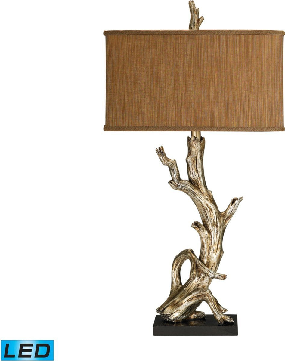 Driftwood 1 Light LED 3 Way Table Lamp Silver Leaf