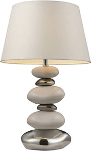 Dimond Mary Kate and Ashley Elemis 1-Light Table Lamp Chrome and Stone and Natural 39481