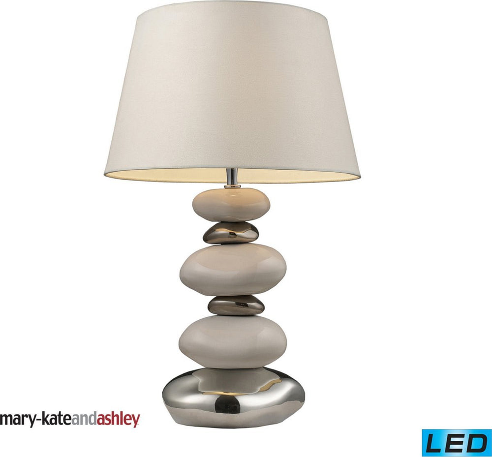 Elemis 1-Light LED 3-Way Table Lamp Pure White And Chrome