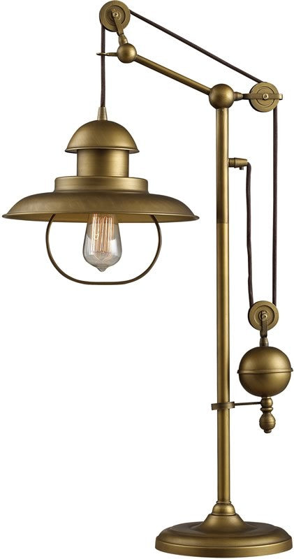 "32""H Farmhouse Table Lamp Antique Brass"