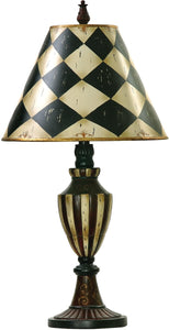 Dimond Harlequin And Stripe Urn 1-Light Table Lamp Black/Antique White 91342