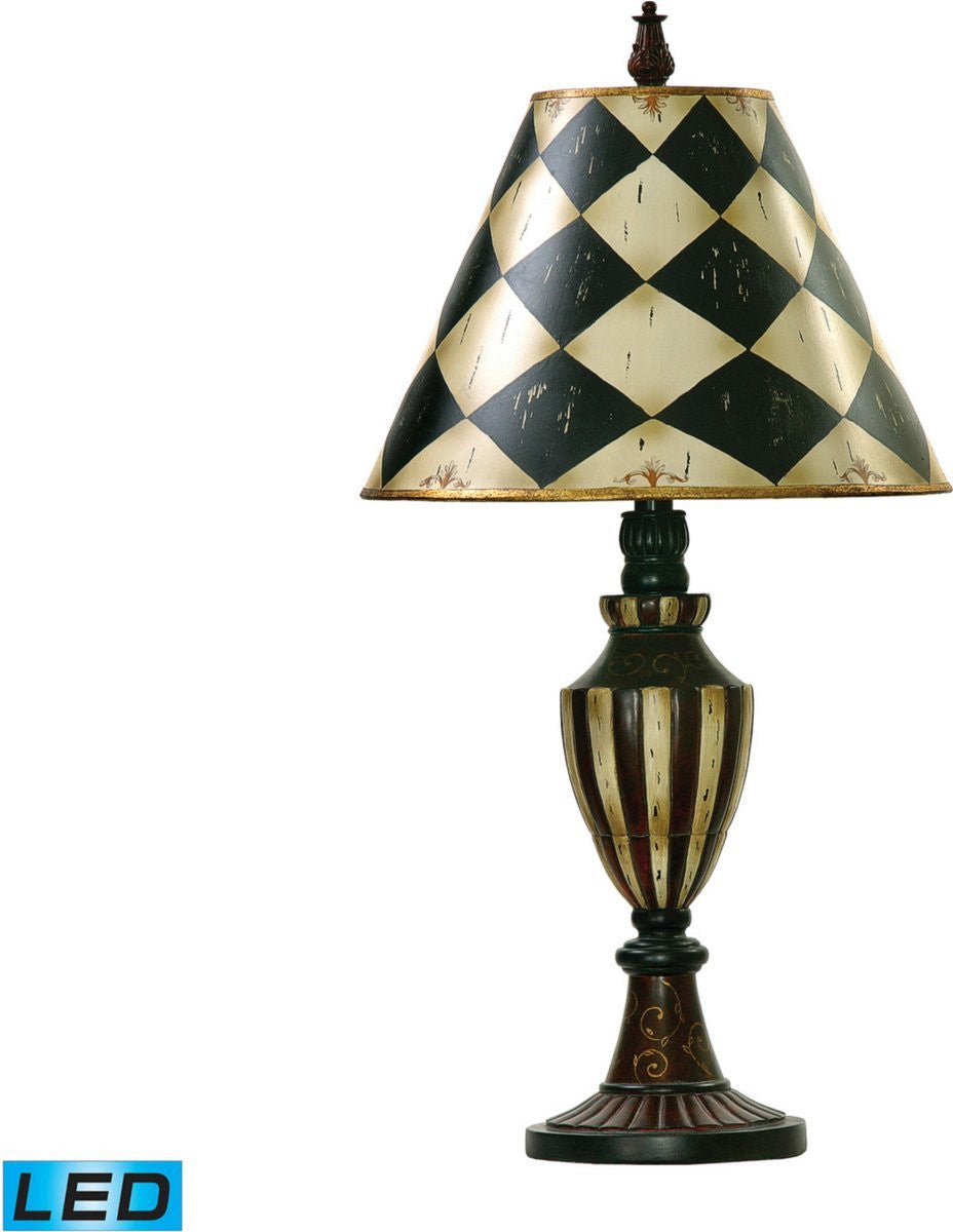 Harlequin And Stripe Urn 1-Light LED 3-Way Table Lamp Black / Antique White