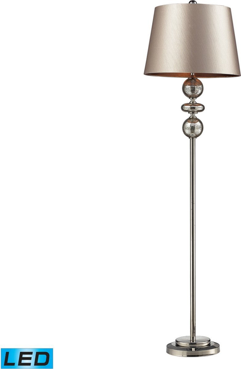 Hollis 1-Light LED 3-Way Floor Lamp Antique Mercury Glass And Polished Nickle