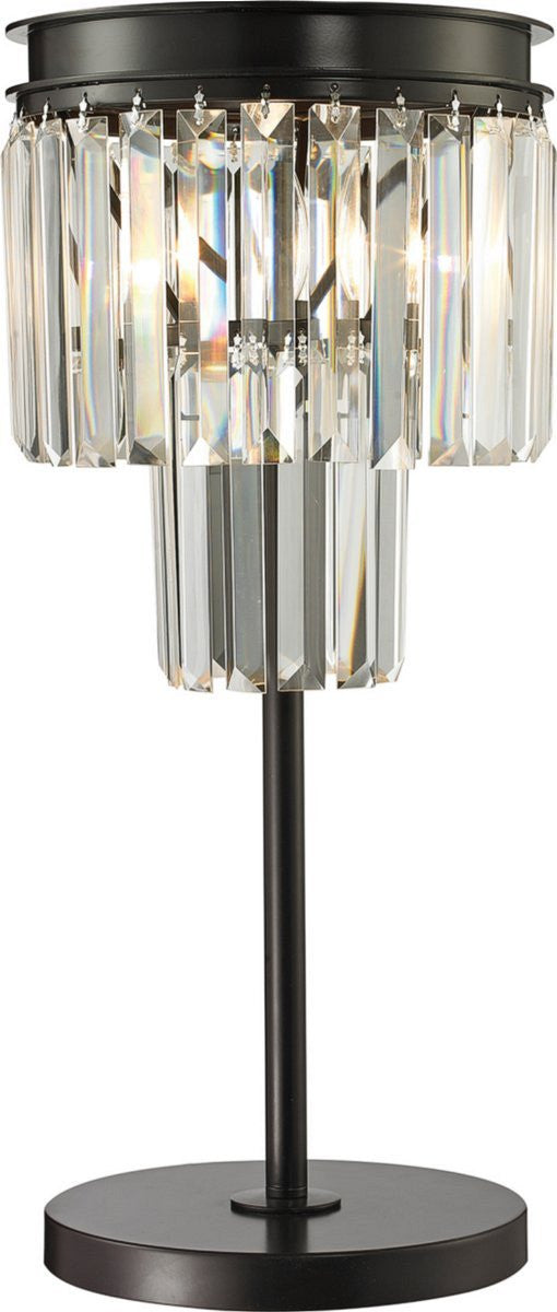 Palacial 1-Light Crystal Table Lamp Oil Rubbed Bronze