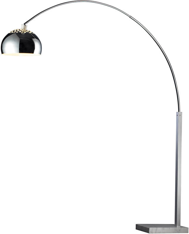 "79""H Penbrook  1-Light Arc Floor Lamp Silver Plated and White Marble"