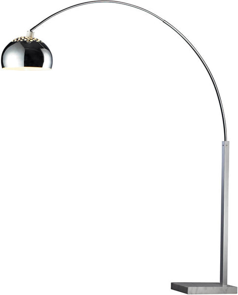 Dimond Penbrook 1-Light Arc Floor Lamp Silver Plated and White Marble D1428
