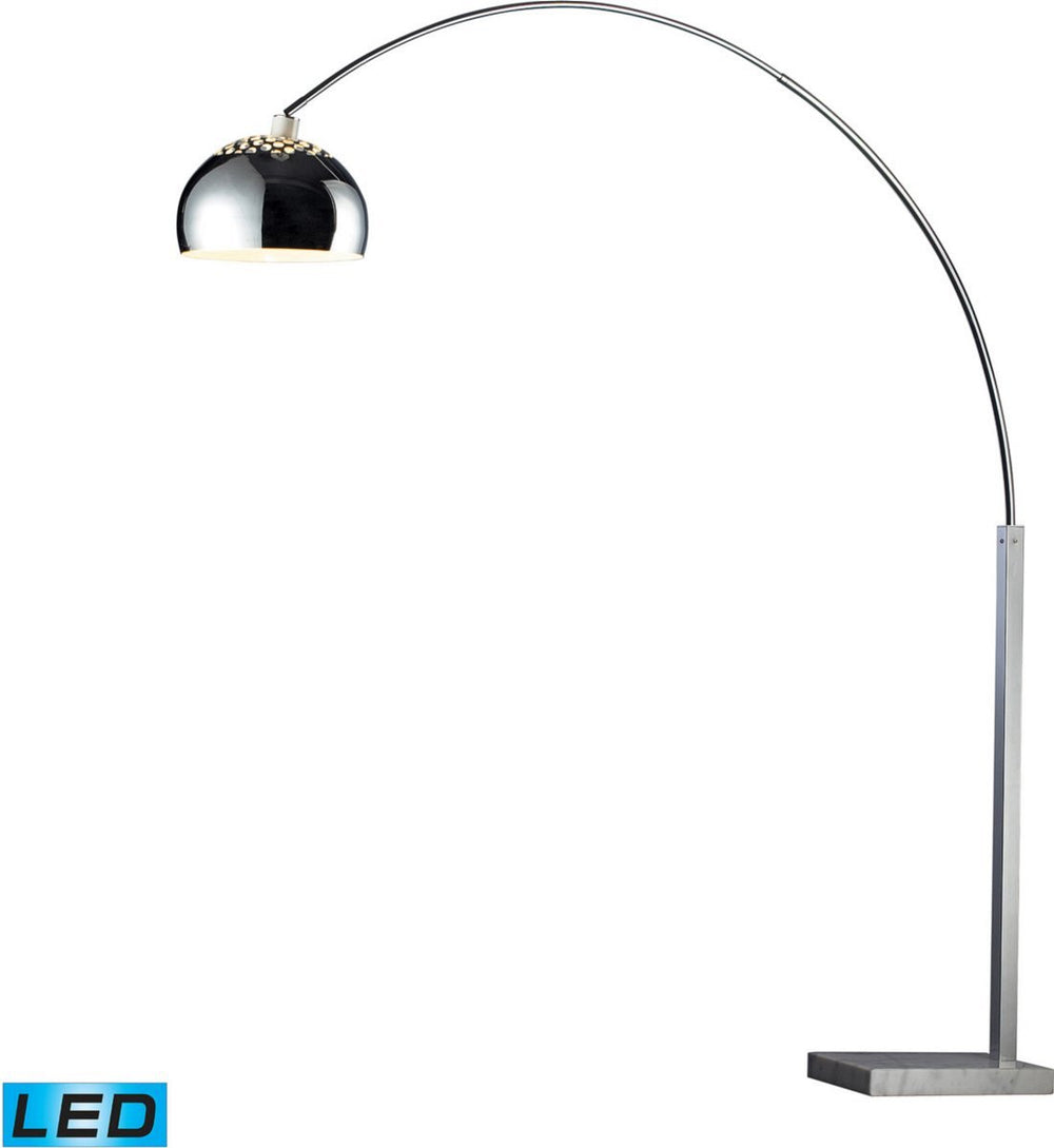 Penbrook 1-Light LED Arc Floor Lamp Silver Plated And White Marble