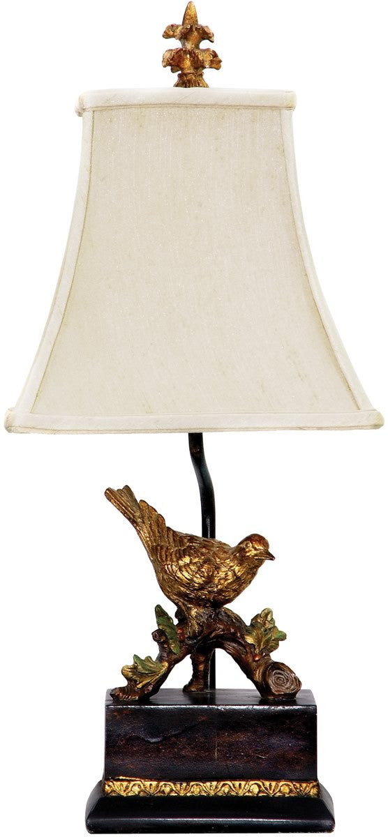 "21""H Perching Robin 1-Light Table Lamp Gold Leaf/Black"