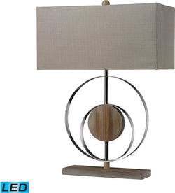Dimond Shiprock 1 Light Led 3 Way Table Lamp Bleached Wood Chrom Finish D2297Led