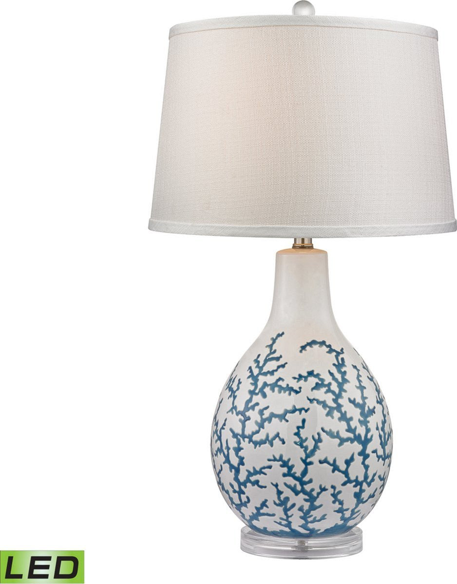 "27""H Sixpenny 1-Light LED 3-Way Table Lamp Pale Blue / White"