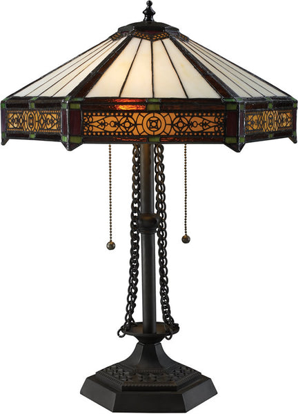 Dimond Filigree Double Pull Table Lamp Tiffany Bronze D1852
