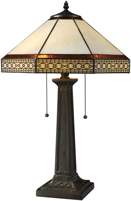 "24""H Stone Filigree Double Pull Table Lamp Tiffany Bronze"