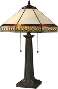 Dimond Stone Filigree Double Pull Table Lamp Tiffany Bronze D1858