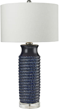 "30""H 1-Light 3-Way Table Lamp Navy Blue"