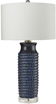 "30""H 1-Light 3-Way LED Table Lamp Navy Blue"