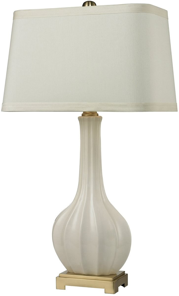 1-Light 3-Way LED Table Lamp Cream Glaze Antique Brass