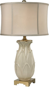 Dimond 1-Light 3-Way Table Lamp Ivory Glaze Antique Brass D2598
