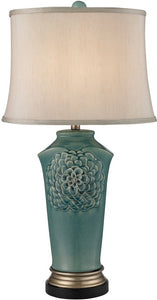 Dimond 1-Light 3-Way Table Lamp Medium Seafoam Glaze Gold Bronze D2626