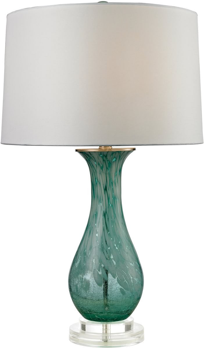 1-Light 3-Way Table Lamp Aqua Swirl