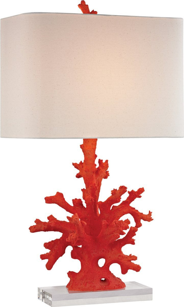 "28""H 1-Light Table Lamp Red Coral"
