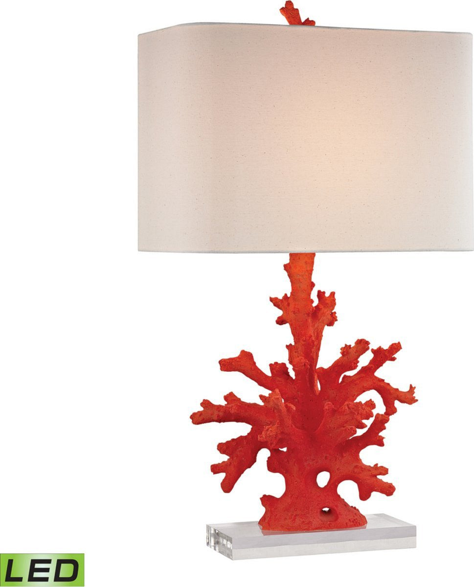 "28""H 1-Light LED 3-Way Table Lamp Red Coral"