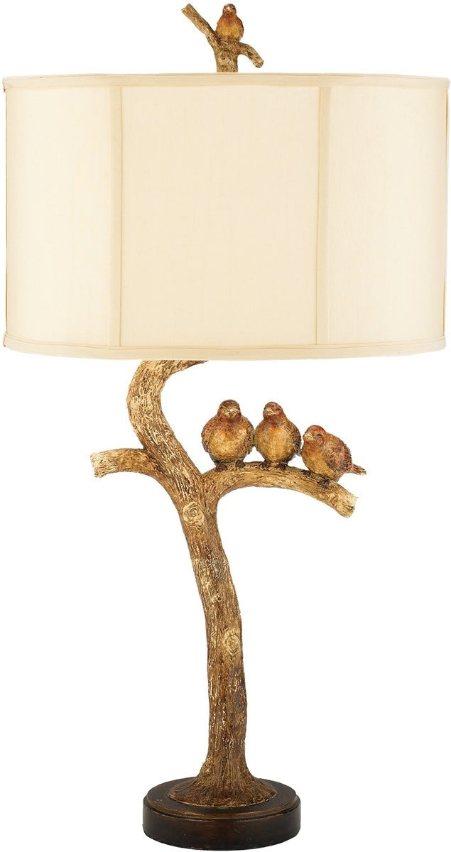 "31""H Three Bird Light 1-Light Table Lamp Gold Leaf/Black"