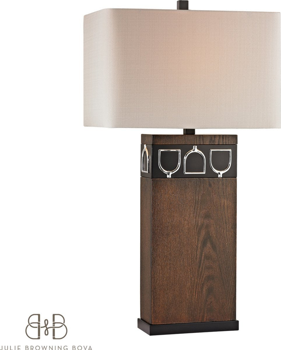 Triple Tack Hunt 1-Light 3-Way Table Lamp Antique Pine, Ob, Chrome